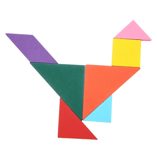 Wooden Colored Tangram Board 7 Piece Jigsaw Puzzle Early Educational Develoment Toys Gifts for Kids