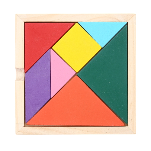 Wooden Coloured Tangram Board 7 Piece Jigsaw Puzzle Early Educational Develoment Toys Prezenty dla dzieci