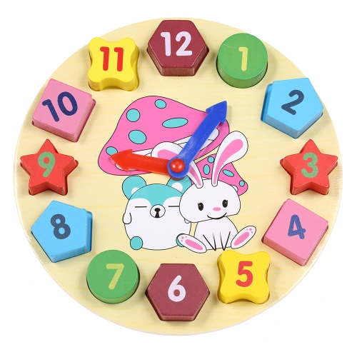 Digital Wooden Clock Toy Number Cube Geometric Shape Building Block Early Educational Toys Gifts for Baby Kids Child
