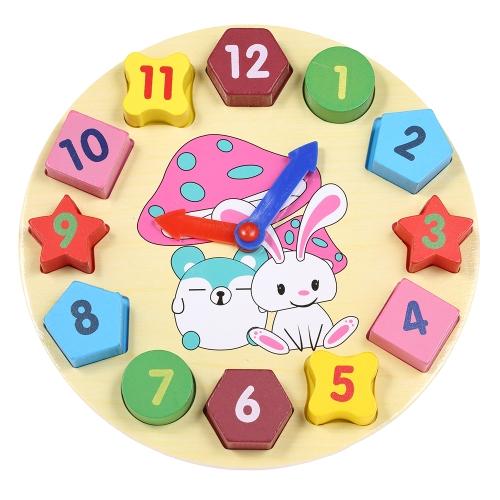 Digitale Holz Uhr Spielzeug Nummer Würfel Geometrische Form Baustein Frühen Lernspielzeug Geschenke für Baby Kinder Kind