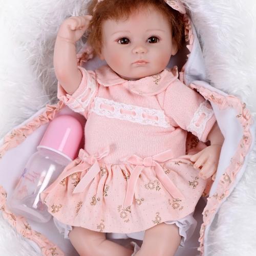 Image de 16 pouces 41 cm Silicone Reborn Toddler Bébé Poupée Fille Corps Boneca Avec Des Vêtements Brun Yeux Réaliste Mignon Cadeaux Jouet