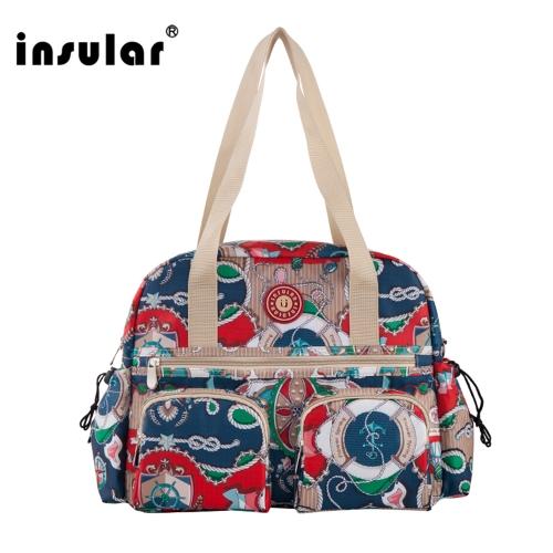 Insular Baby Diaper Bag Handbag Large Capacity Mummy Nappy Nursing Bag Travel for Baby Care Red