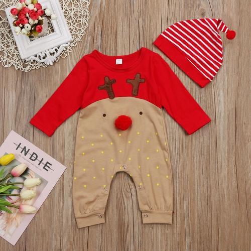 Смазливая младенческая новорожденного мальчика мальчика Рождественский Romper мультфильм комбинезон комбинезоны Kids Outfit Set и Hat