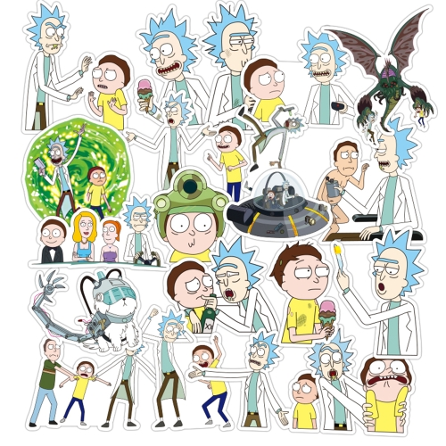60Pcs/bag American Drama Rick and Morty trendy Sci-fi Animation Image Stickers sun protection and waterproof