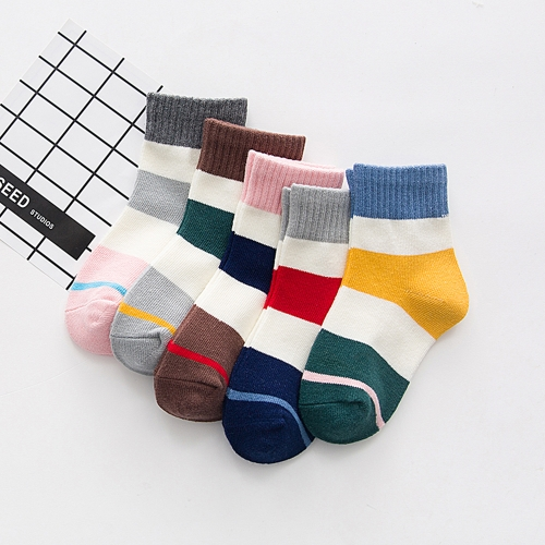 5 Pack Baby Sports Socks Unisex Cotton Anklet Socks For 1-3 Year Infant Toddler Kids Boy Girl Style1