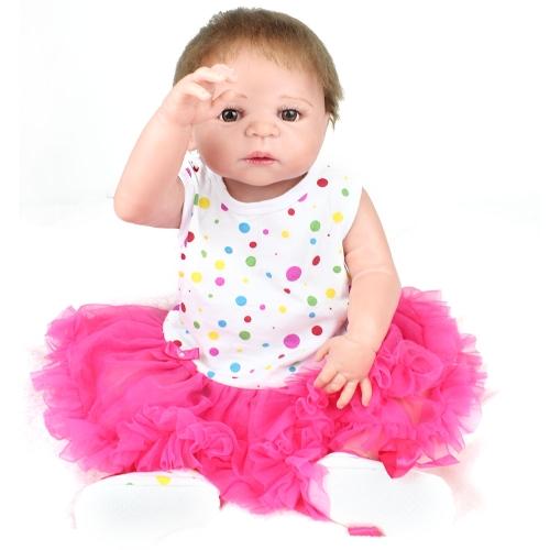 22 pouces 55 cm Reborn Bébé Poupée Fille Pleine Silicone Poupée Bébé Jouet De Bain Avec Des Vêtements Réaliste Mignon Cadeaux Jouet