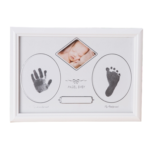 Baby Handprint Footprint Picture Frame Kit Wooden Photo Frame Round Hole