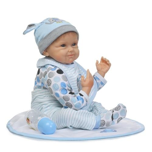 22inch 55cm Reborn Baby Кукла Мальчик PP наполнение Тело с одеждой Lifelike Симпатичные игрушки подарков