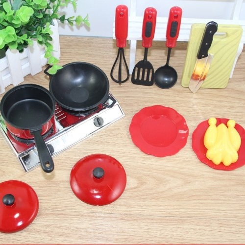 Image de 13 PCS Cook Ware Jouet Maison Cuisine Jeux de Cuisine Ustensiles de Cuisson Pots Casseroles Plats de Vaisselle Enfants Batterie de Cuisine
