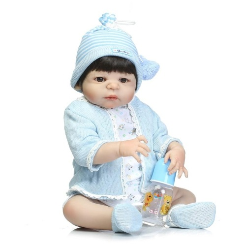 22in Reborn Baby Rebirth Doll Kids Gift Blue Sweater All Silica Gel Boy