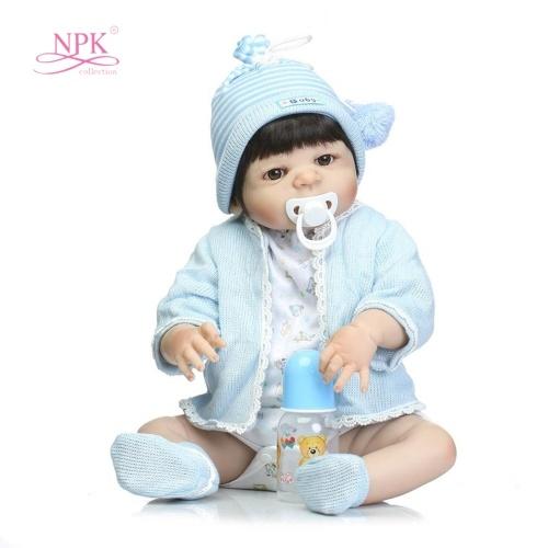 22in Reborn Baby Rebirth Doll Kids Gift Blue Sweater All Silica Gel Boy