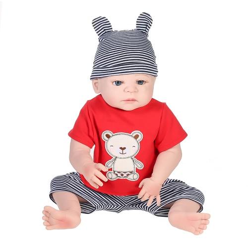 Полностью силиконовый новорожденный ребенок-кукольный мальчик с укорененной одеждой для волос Новорожденная детская кукла Boneca 22in 55cm Lifelike Cute Girl Gifts Toy