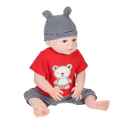 Full Silicone Reborn Baby Doll Boy With Rooted Hair Clothes Newborn Baby Doll Boneca 22in 55cm Lifelike Cute Girl Gifts Toy