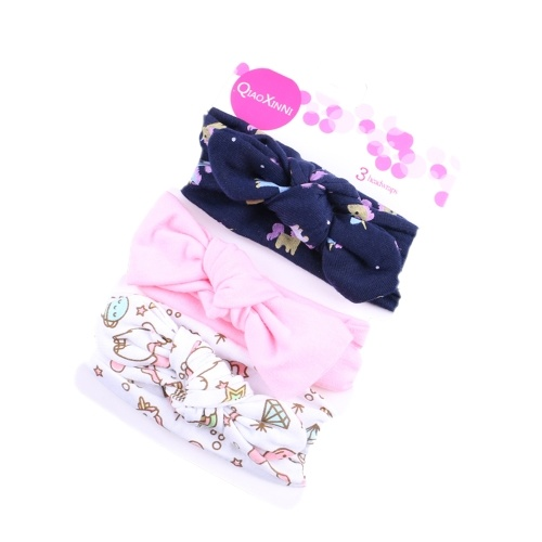 3Pcs Baby Headbands Elastic Knotted Cotton