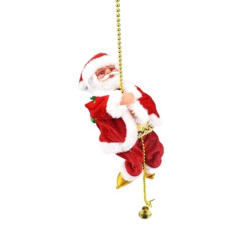 Santa Claus Climbing Rope And Sing Christmas Songs