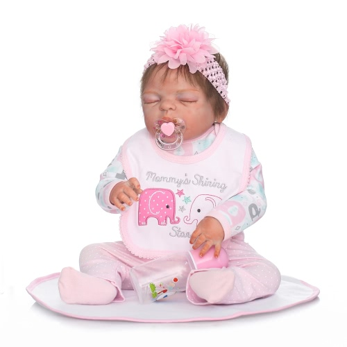 Reborn Baby Doll Girl Baby Bath Toy Full Silicone Body Eyes Close Sleeping Baby Doll With Clothes 22inch 55cm Lifelike Cute Gifts Toy