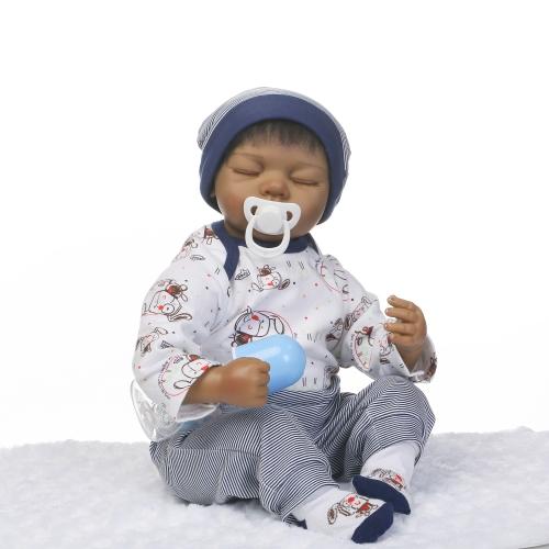 22inch Silicon Reborn Малыш-куклы Спящий ребенок Кукла Мальчик Глаза Закрыть с одеждой для волос Boneca Lifelike Cute Gifts Toy