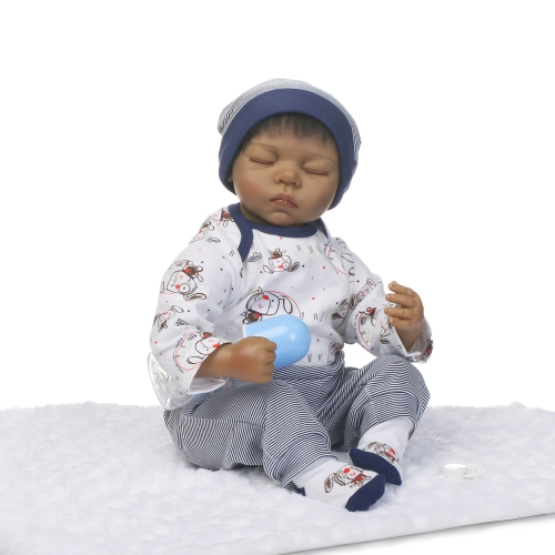 22inch Silicon Reborn Toddler Doll Sleeping Baby Doll Boy Eyes Close With Hair Clothes Boneca Lifelike Cute Gifts Toy
