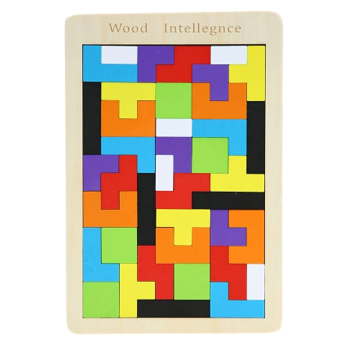 Wooden Tetris Game Jigsaw Puzzle Tangram Board Early Educational Develoment Toys Gifts for Kids