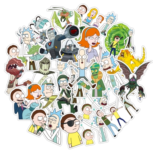 100Pcs/bag American Drama Rick and Morty trendy Sci-fi Animation Image Stickers sun protection and waterproof