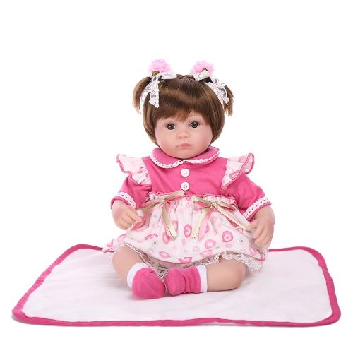 Reborn Baby Doll Girl PP Relleno de Silicona de Cuerpo de Bebé Muñeca con Ropa de Pelo 17 pulgadas 45 cm Realista Lindo Regalos de Juguete