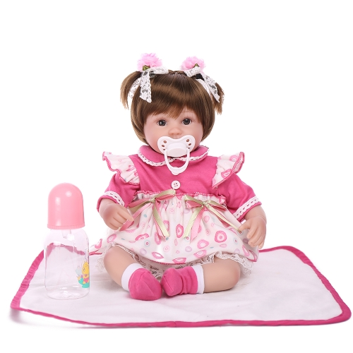 Reborn Baby Doll Girl PP Filling Body Silicone Baby Doll With Clothes Hair 17inch 45cm Lifelike Cute Gifts Toy