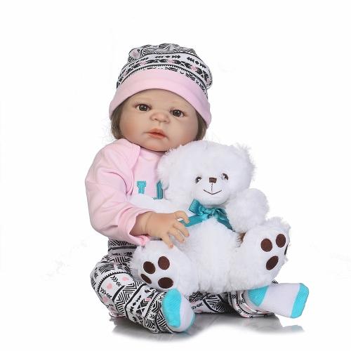 22in Reborn Berbeć Cute Little Girl Doll Kids Prezent Babygirl Friend with Feeding Bottle