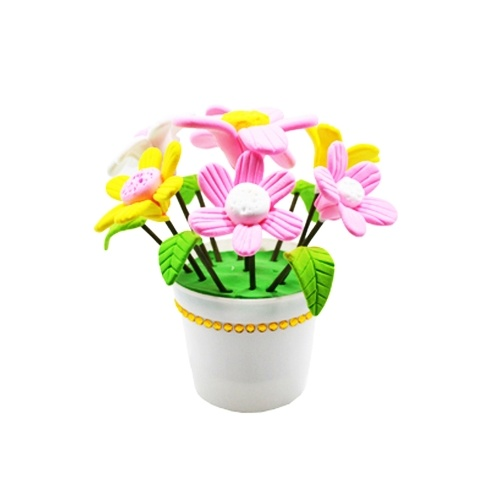 DIY Handmade Material Environmental Ultralight Color Clay Potted Flower DIY Kits for Children Educational Toy