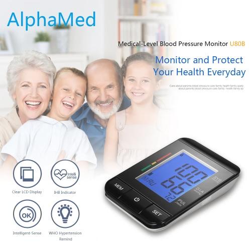 AlphaMed LCD Monitoraggio pressione sanguigna superiore 2 Modalità utente / 90 Memoria dati