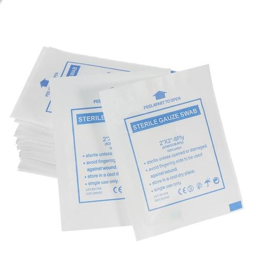 "Decdeal 50PCS almohadillas de gasa estéril 2 * 2 ""8Ply algodón antiadherente almohadillas de uso múltiple de gasa médica"