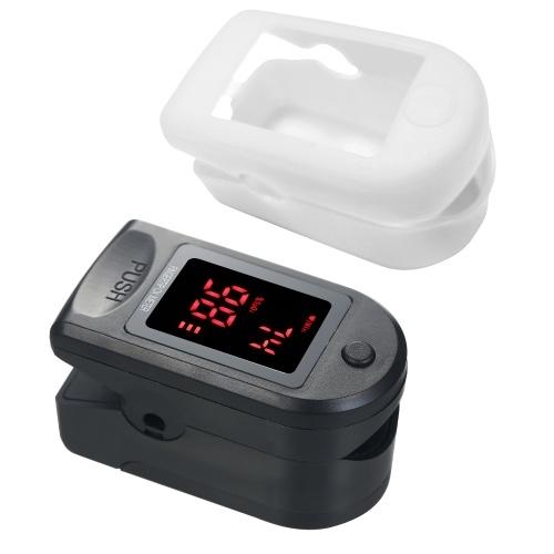 Mini-Fingerspitzen-Pulsoximeter Pulsfrequenz-Blutsauerstoffsättigungsmonitor Klares OLED-Display Lanyard-Silikonetui für den Heimgebrauch, schwarz mit weißem Silikonetui