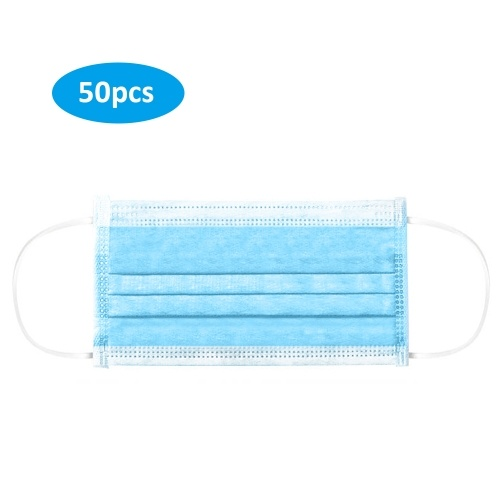 50pcs Disposable 3-Layer Mask Non-woven Fiber Fabric Breathable Face Mask Anti Dust Flexible Earloop Mouth Mask Sanitary Mask 50pack/Box Blue