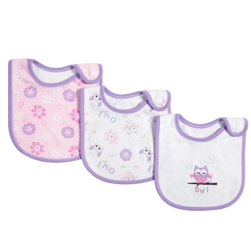 Paquete de 3 baberos para bebé 100% algodón orgánico, babero para la dentición, suave, súper absorbente, con botón a presión, para niñas, niños, recién nacidos, bebés, búhos