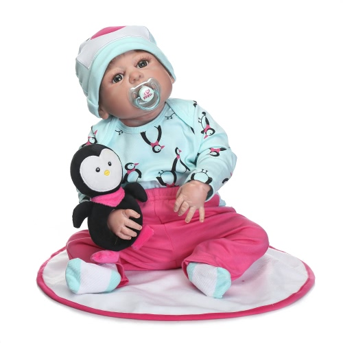 Reborn Baby Doll Girl Baby Bath Toy Full Silicone Body Eyes Open With Clothes 22inch 55cm Lifelike Cute Gifts Toy
