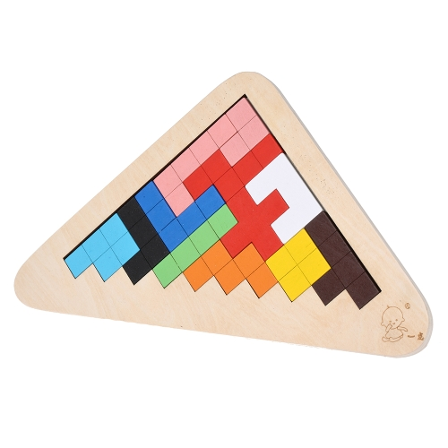 Wooden Jigsaw Puzzle Triangle Board Tangram Early Educational Develoment Toys Gifts for Kids