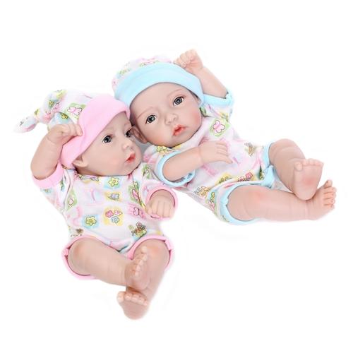 10inch 25 cm Reborn Baby Doll Jumeaux Full Silicone Princesse Poupée Bébé Jouet De Bain Avec Des Vêtements Réaliste Mignon Cadeaux Jouet