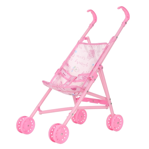 Baby Infant Doll Cochecito Carrito Plegable Con Muñeca Para 12 pulgadas Muñeca Barbie Mini Cochecito Juguetes Regalo Rosa