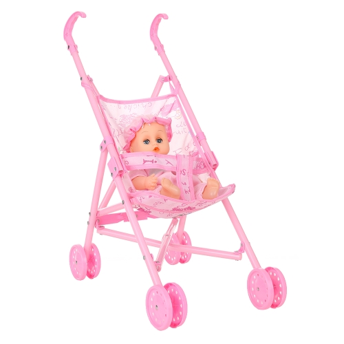 Baby Infant Doll Stroller Carriage Foldable With Doll For 12inch Doll Barbie Mini Stroller Toys Gift Pink