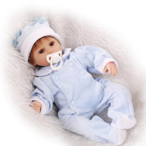 16 zoll 41 cm Reborn Baby Puppe PP Füllung Körper Realistische Lebensechte Boneca Geschenke Spielzeug Blau Tücher