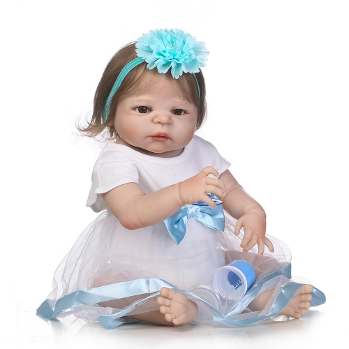 22 en Reborn Toddler Cute Little Girl Doll Kids Gift Babygirl Amigo con biberón