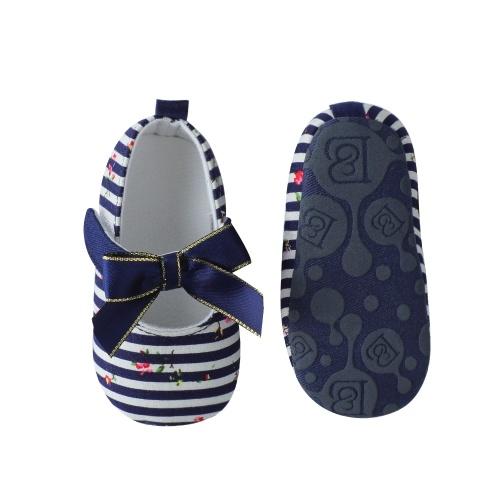 Младенческая малышей Детские ботинки Мягкая подошва Нескользящая полоса Bowknot Prewalker Blue Размер 4
