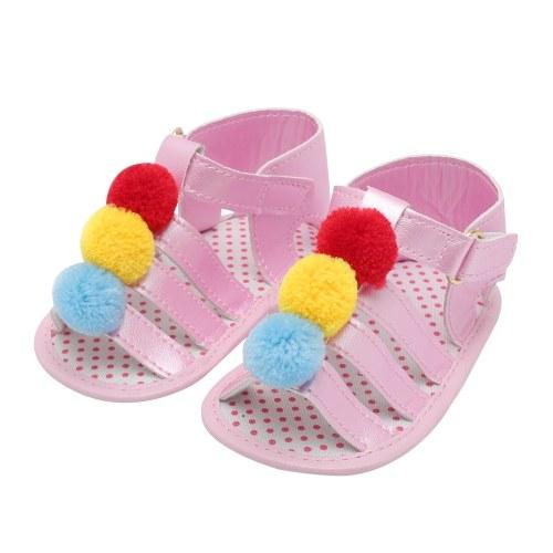Младенческая малышей Детские летние ботинки Девочки Сандалии Мягкие подошвы Нескользящие Красочные Pompon Prewalker Белый Размер 4