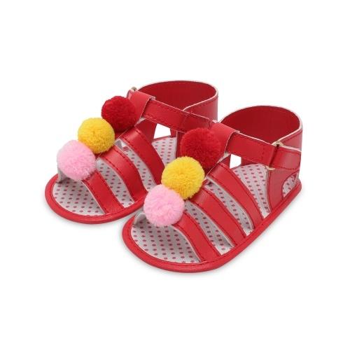 Infant Toddler Baby Summer Shoes Sandalias para niña Soft Sole antideslizante Colorido Pompon Prewalker Blanco Talla 4