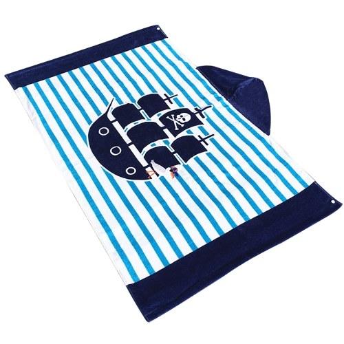 Niños con capucha Toalla de playa Manta de algodón Súper absorbente Baño lindo del catoón Piscina de natación Toalla Manto Capa Boy Girl Blue Stripe Whale