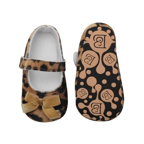 Младенческая малыш Детская обувь Мягкая подошва Нескользкая леопард Печать Bowknot Prewalker Green Размер США 4
