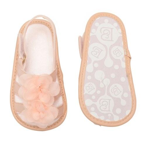 Младенческая малышей Детская обувь для девочек Цветочные сандалии для летнего мягкого подошвы Нескользящий препакер Светло-розовый Размер США 4