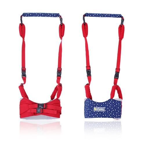 Ayudante de caminar doble Walker Walker Ayudante Caminar Cinturón de aprendizaje Toddler Safe Walking Arnés Protector Ajustable Algodón Azul Oscuro