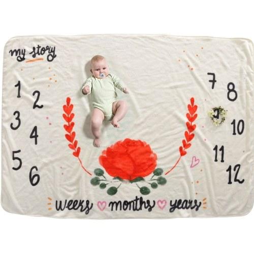 Baby Monthly Milestone Blanket For Girl Boy