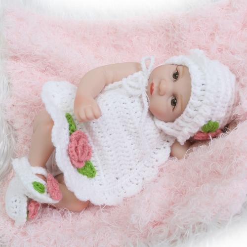 Image of Reborn Baby Doll Mädchen Baby Bad Spielzeug Voll Silikon Körper Augen Schließen Schlafen Baby Puppe Mit Kleidung 10inch 25cm Lifelike Cute Geschenke Spielzeug