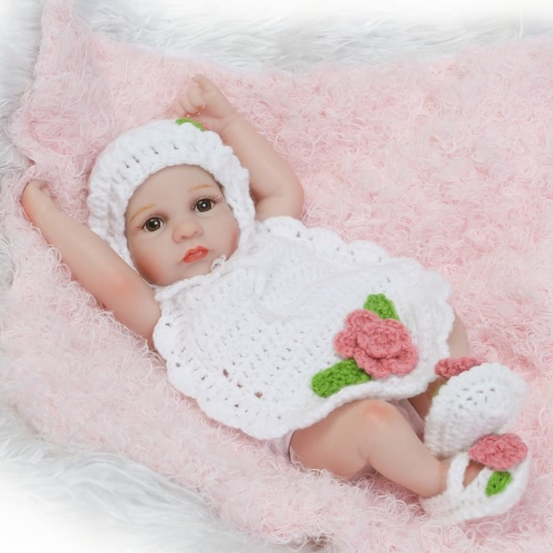 Reborn Baby Doll Girl Baby Bath Toy Full Silicone Body Eyes Close Sleeping Baby doll С одеждой 10inch 25cm Lifelike Cute Gifts Toy